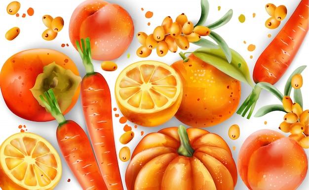 Composição de frutas e legumes laranja.
