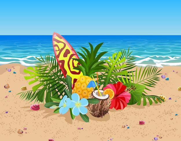 Composição de frutas, flores e folhas exóticas. prancha de surfe colorida, coquetel de coco e abacaxi na areia da praia e no oceano