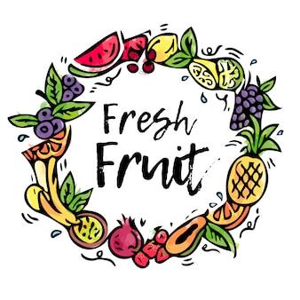 Composição de frutas pintadas coleção.