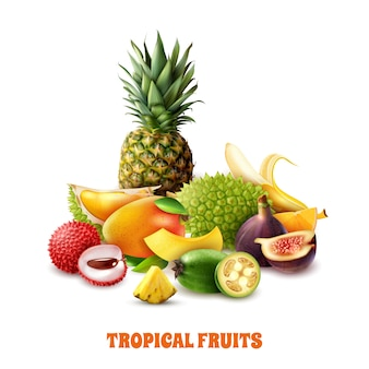 Composição de frutas tropicais exóticas