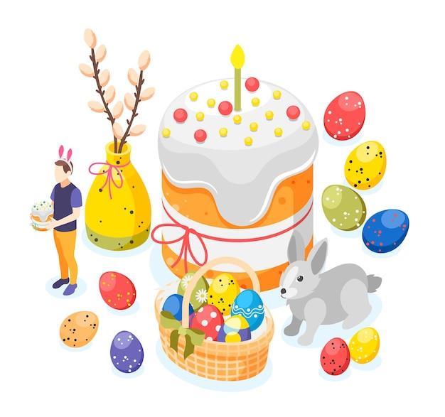 Composição de fundo isométrico de páscoa com imagens de ovos pintados com coelhinho grande bolo de páscoa e ilustração de galho de salgueiro