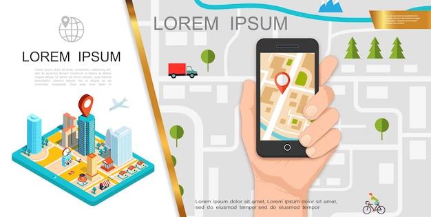 Composição de gps colorida com mapa de mão segurando o celular com aplicativo de navegação e cidade isométrica
