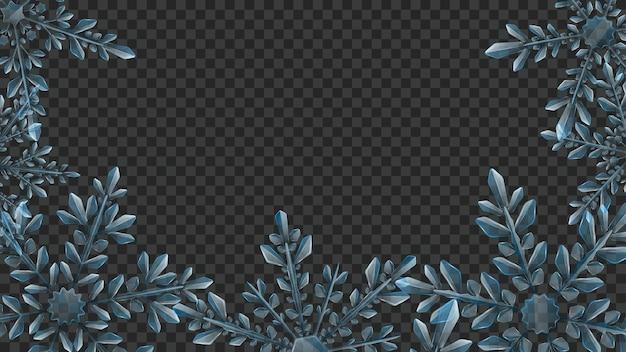 Composição de grandes flocos de neve complexos transparentes em tons de azul claro