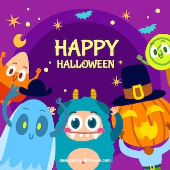 Composição de halloween com monstro adoráveis
