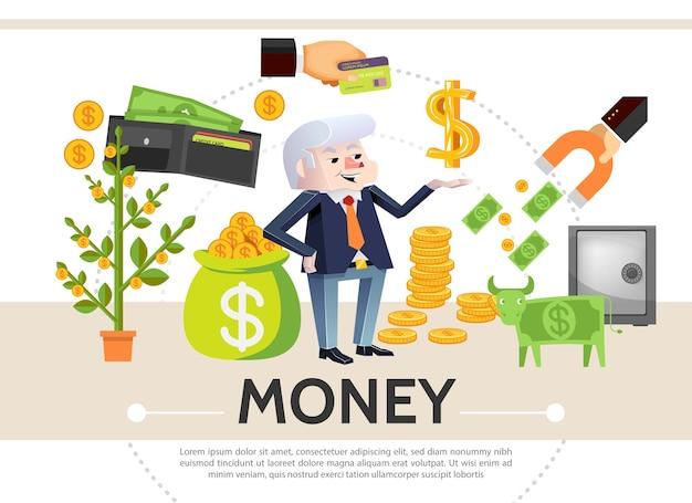 Composição de ícones de caixa plana com árvore de dinheiro, moedas de cartão de pagamento, carteira de vaca de dólar seguro, ímã financeiro