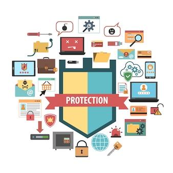 Composição de ícones de conceito de segurança de proteção de computador