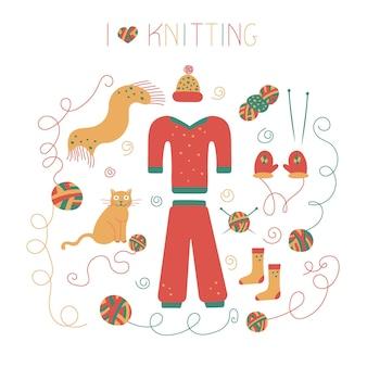 Composição de ícones de linhas de tricô em estilo doodle para uma loja de fios ou alfaiate