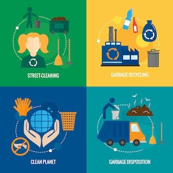 Composição de ícones de lixo