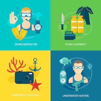 Composição de ícones de mergulho