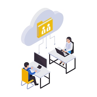 Composição de ícones isométricos de gerenciamento remoto de trabalho distante com ícone de pasta de grupo com dois trabalhadores em locais de trabalho