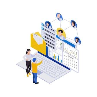 Composição de ícones isométricos de gerenciamento remoto de trabalho distante com laptop e fluxograma de avatares com pessoas