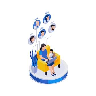 Composição de ícones isométricos de gerenciamento remoto de trabalho distante com uma mulher que trabalha sentada com sua filha Vetor Premium