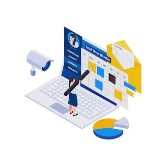 Composição de ícones isométricos de trabalho distante de gerenciamento remoto com laptop e mulher fazendo marcas no calendário do projeto