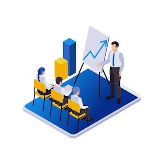 Composição de ícones isométricos de trabalho distante de gerenciamento remoto com vista de reunião corporativa