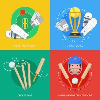 Composição de ícones plana cricket 4
