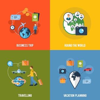 Composição de ícones plana de conceito de viagens