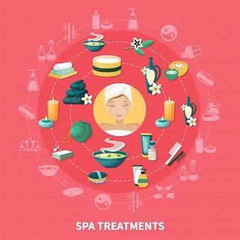Composição de ícones plana de spa resort