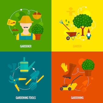 Composição de ícones plana jardim vegetal