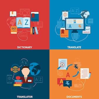 Composição de ícones planos de tradução e dicionário