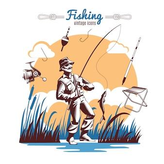Composição de ícones vintage de pesca