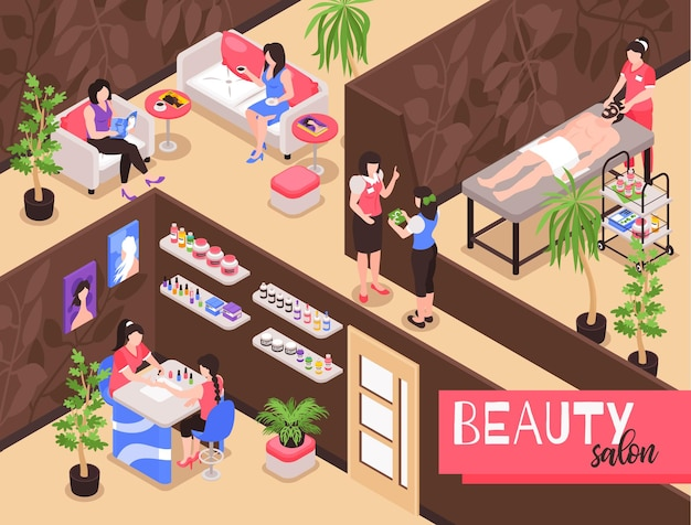 Composição de ilustração isométrica de salão de beleza com vista interna do estúdio spa com pessoas durante procedimentos de terapia