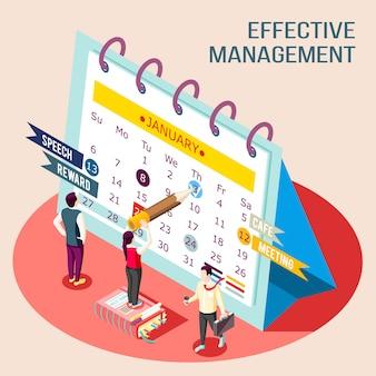 Composição de ilustração isométrica do conceito de gerenciamento eficaz com imagens de pessoas fazendo sinais no calendário de mesa de nomeação