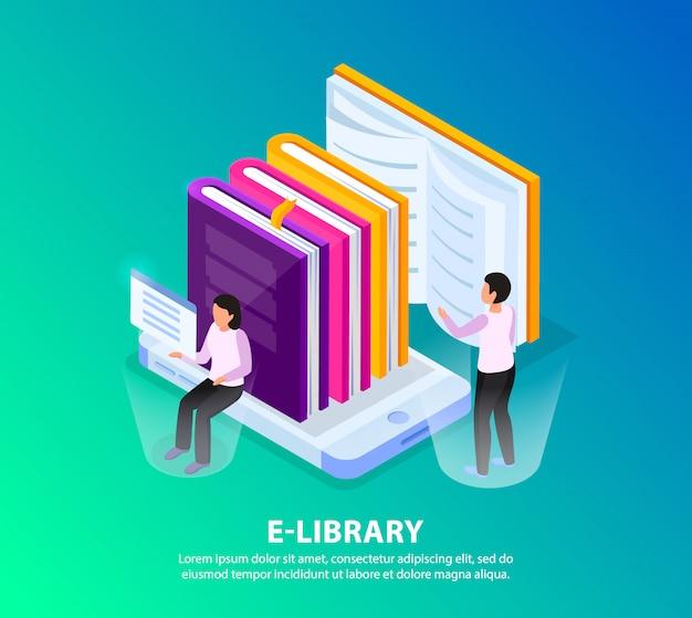 Composição de imagem de conceito de fundo isométrico de biblioteca on-line com telas holográficas de personagens humanos e pilha de livros