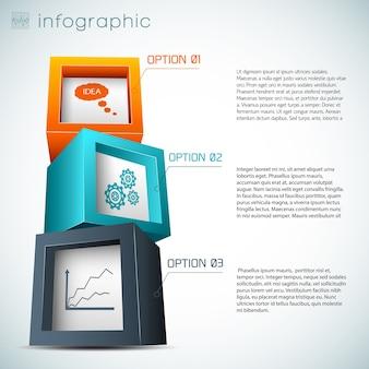 Composição de infográficos de cubos