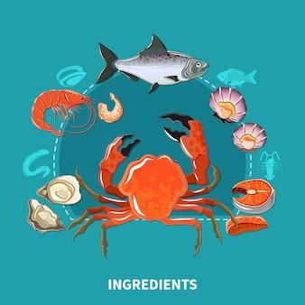 Composição de ingredientes de sushi