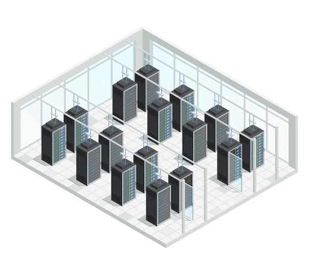 Composição de interior isométrica de computação em nuvem de servidor de datacenter