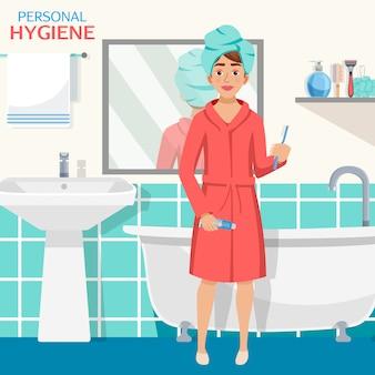 Composição de interiores de casa de banho de higiene