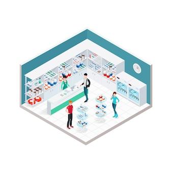 Composição de interiores de loja de químicos