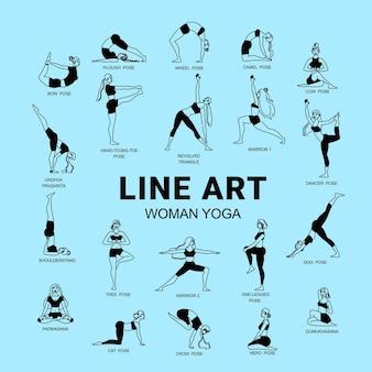 Composição de ioga feminina de arte linear com texto editável e conjunto de figuras femininas isoladas com legendas