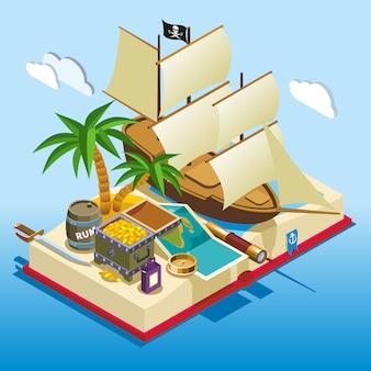 Composição de jogo isométrica de elementos de pirata