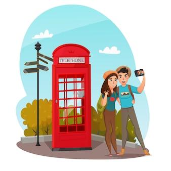 Composição de jovens viajantes