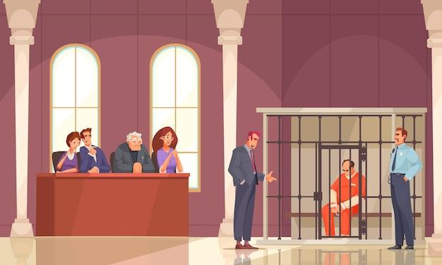 Composição de justiça com cenário de tribunal interno e prisioneiro em gaiola com personagens humanos de júri de julgamento