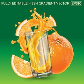 Composição de laranja fresca e um copo com um toque dinâmico de suco de frutas.