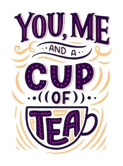 Composição de letras com desenho para cafeteria, cafeteria ou gravuras