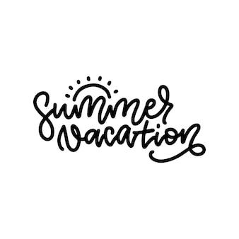 Composição de letras de linha das férias de verão com sol de doodle