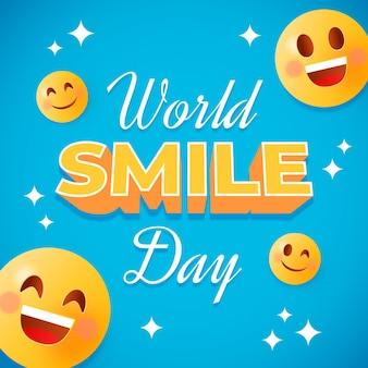 Composição de letras do dia mundial do sorriso com emoticon