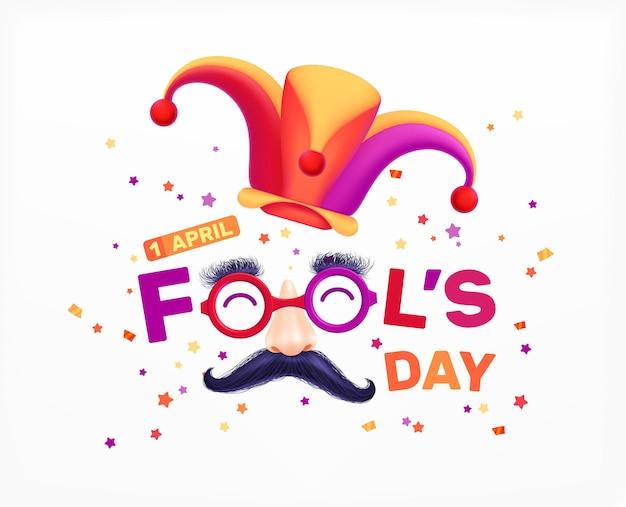 Composição de letras realistas do dia da mentira, 1º de abril, com texto editável e chapéu curinga com ilustração de bigode falso