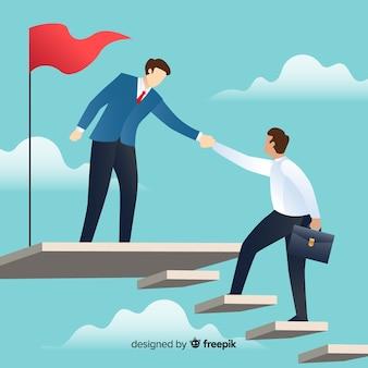 Composição de liderança moderna com design plano