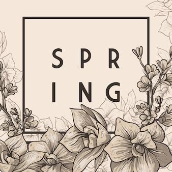Composição de lindas flores e olá citação de primavera design de cartão de saudação de primavera
