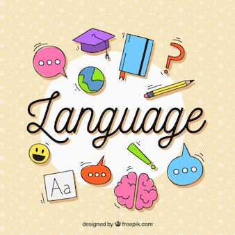 Composição de linguagem com design plano