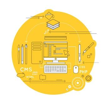 Composição de linha de design web