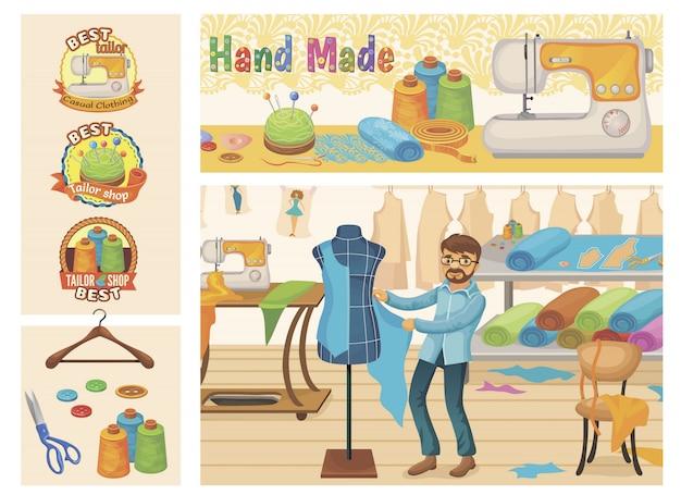 Composição de loja de alfaiate plana com acessórios de ferramentas de costura mestre e emblemas coloridos