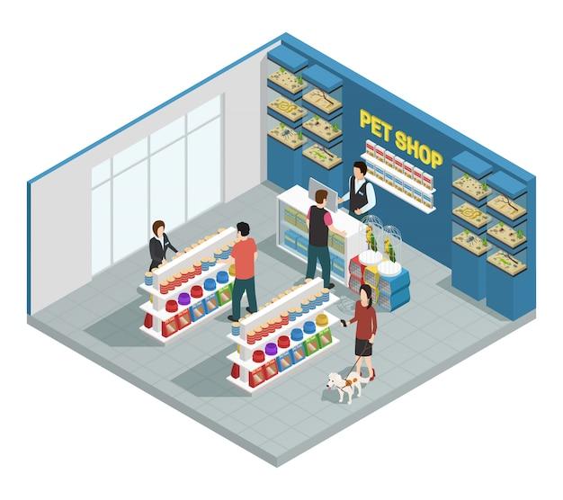 Composição de loja de animais com clientes mercadorias e animais de estimação