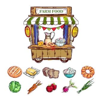 Composição de loja de comida de fazenda ao ar livre