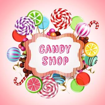 Composição de loja de doces com produtos realistas de caramelo doce e pirulitos com texto no quadro