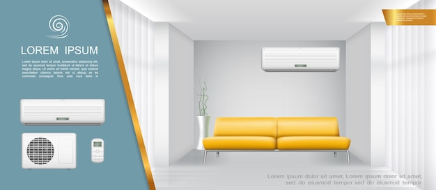 Composição de luz interior de sala de estar com planta de casa de condicionador de ar de sofá amarelo em estilo realista
